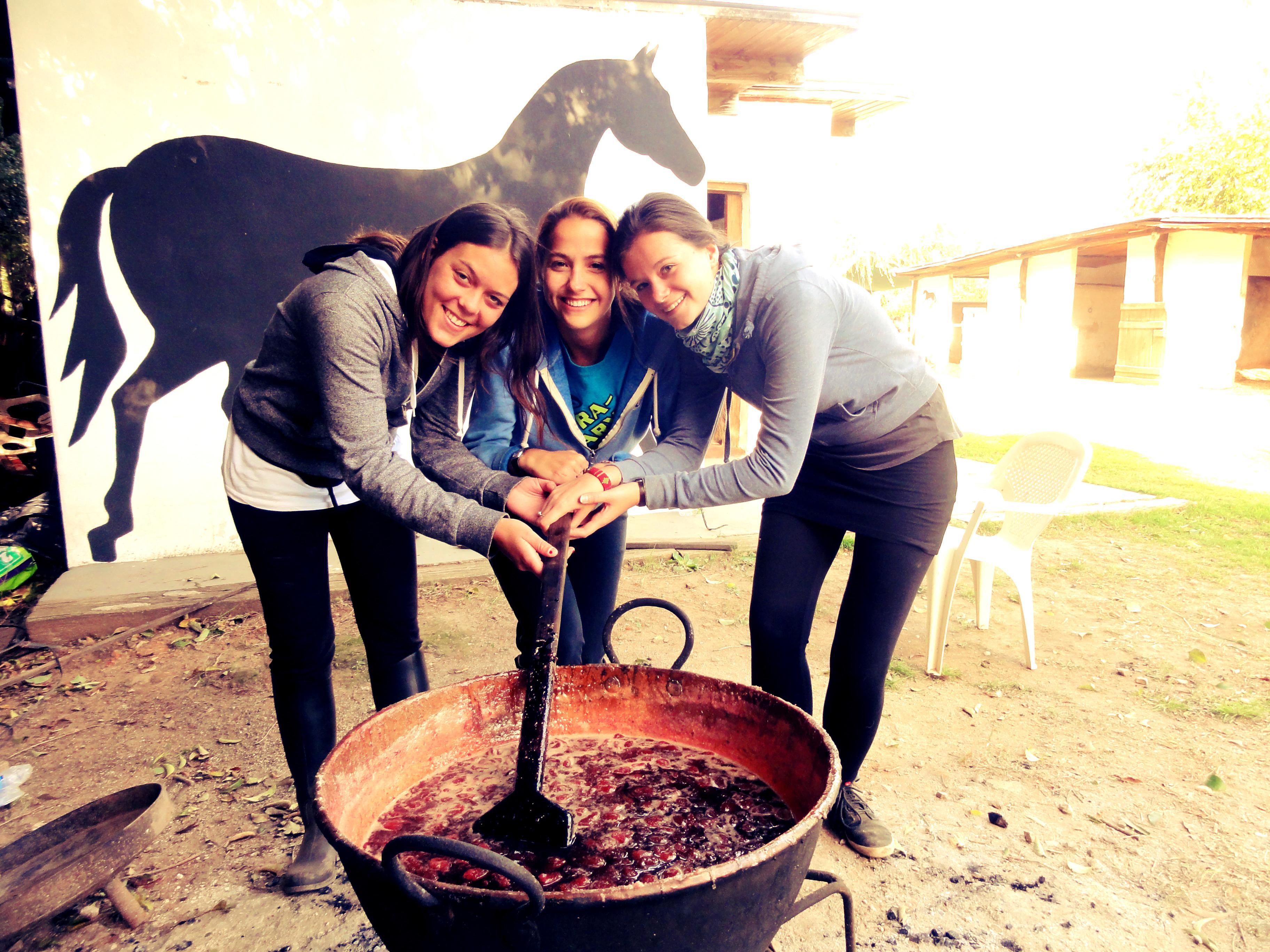 Voluntarias de Equinoterapia tomándose una fotografía mientras limpian los establos.
